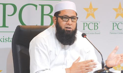 CHIEF selector Inzamam-ul-Haq speaks to reporters during the press conference at the Gaddafi Stadium on Thursday. —M.Arif/White Star