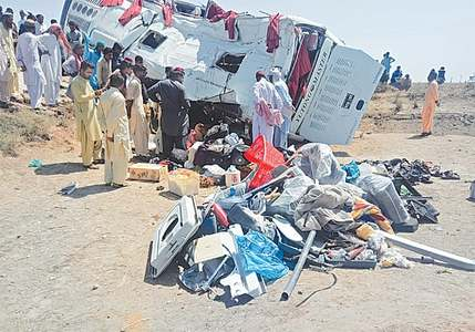 Nine killed, 64 injured as bus overturns near Badin