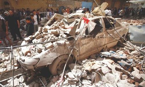 Saudi-led coalition strikes at Houthi bases in Sanaa