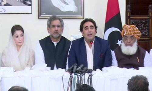 Opposition leaders hold a press conference. — DawnNewsTV