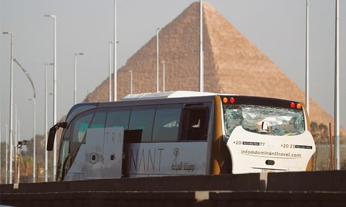 Bomb blast hits tourist bus near Egypt pyramids, injures 17