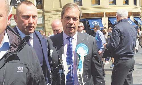 Pro-Brexit British politician hit by milkshake during campaign