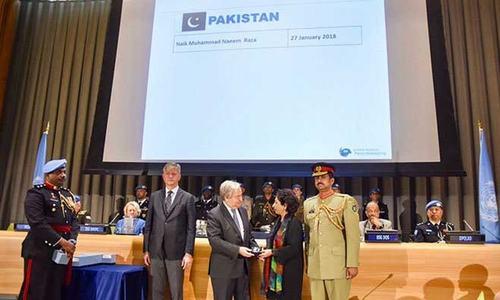 اقوام متحدہ کا امن مشن میں شہید ہونے والے پاکستانی سپاہی کیلئے اعزاز