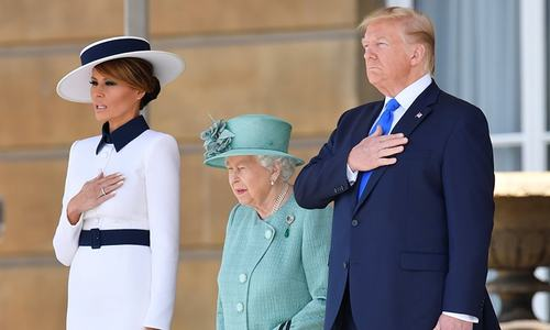 Trump meets the Queen at Buckingham Palace following Twitter spat with London mayor