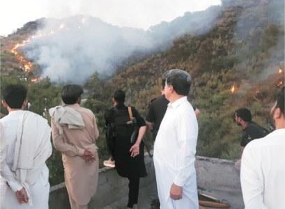 Fire erupts again in Topi's Ajmer mountain