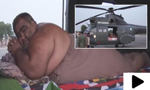 موٹاپے کے شکار نورالحسن کو ہیلی کاپٹر کے ذریعے ہسپتال منتقل کردیا