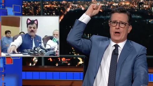 Cat filter minister from KP makes it to Stephen Colbert's show