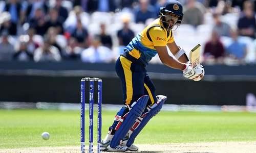 Sri Lanka's Angelo Mathews watches the ball after playing a shot. — AFP