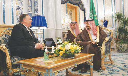 Pompeo meets Saudi leaders to build a 'global coalition' against Tehran; Trump imposes sanctions