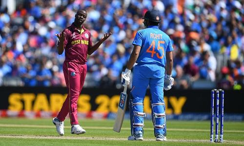 India 97-1 after 20 overs in World Cup clash against West Indies