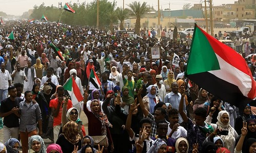 Tens of thousands protest army rule in Sudan