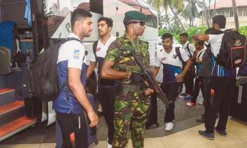 Bangladesh team arrives in Sri Lanka under high security
