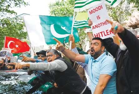 Spirited crowd lambastes India's Kashmir action at London rally
