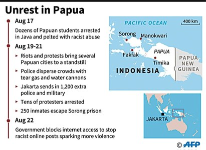 Indonesia blocks internet in Papua over unrest fears