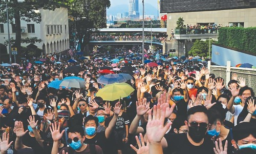 Huge crowd takes protest message to US consulate in Hong Kong