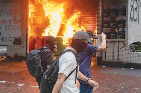 Hong Kong sees fierce clashes two days before China's 70th anniversary