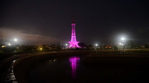 Minar-e-Pakistan lit up bright pink for #Pinktober