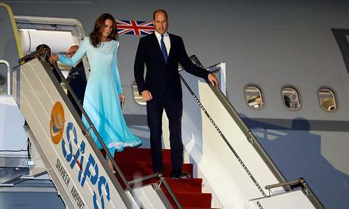 Britain's Prince William, Kate Middleton arrive in Pakistan on 5-day visit