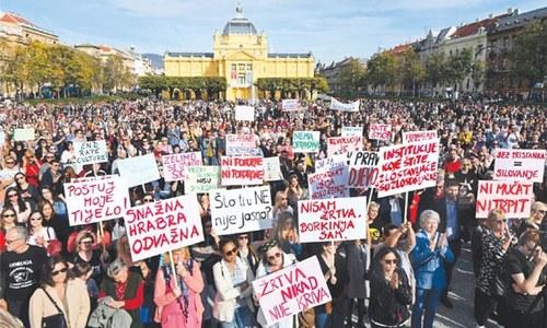 Croatians protest over release of teen's suspected rapists