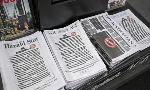 آسٹریلیا: اخبارات کا احتجاج، بغیر کسی اشاعت کے صفحات سیاہ کردیے گئے