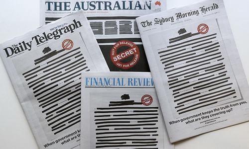 آزادی صحافت کی مہم: آسٹریلیا کے اخباروں نے پہلا صفحہ سینسر کردیا