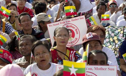 Myanmar leader Suu Kyi departs for genocide hearings