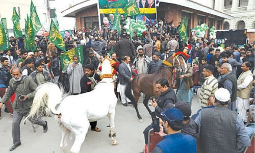 PML-N train celebration arrives before time