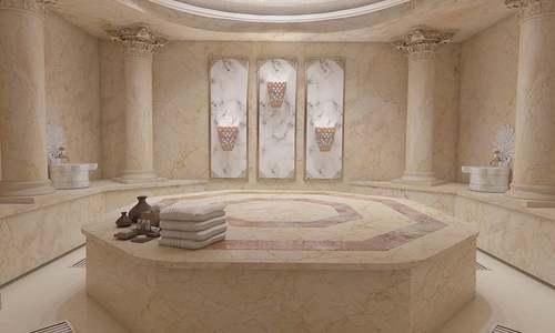 پتھر کی سلوں پر گرم بھاپ اور پانی سے حمام کا زبردست تجربہ