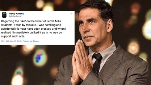 Akshay Kumar claims he liked tweet mocking Jamia Millia University protest by mistake