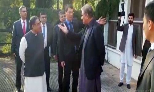 Foreign Minister Shah Mehmood Qureshi pictured standing outside the Foreign Office. — DawnNewsTV