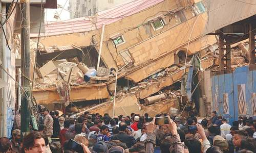 Six-storey residential building collapses in Karachi's Ranchhore Line
