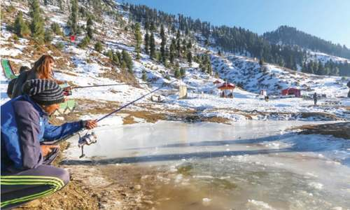 Ice fishing attracts tourists to Malam Jabba