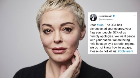 Rose McGowan defends tweet apologising to Iran after airstrike
