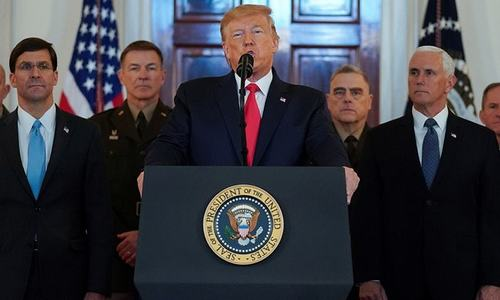 Trump tones down war rhetoric, announces more 'punishing sanctions' on Iran