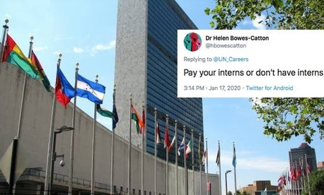 United Nations comes under fire on Twitter for posting an unpaid internship ad