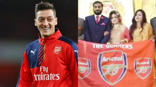 Arsenal's Mesut Ozil congratulates Pakistani fan couple on their wedding