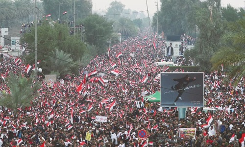 Thousands march in Baghdad for ouster of US troops