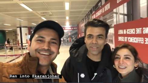 Sarwat Gilani and Fahad Mirza run into Karan Johar at the airport