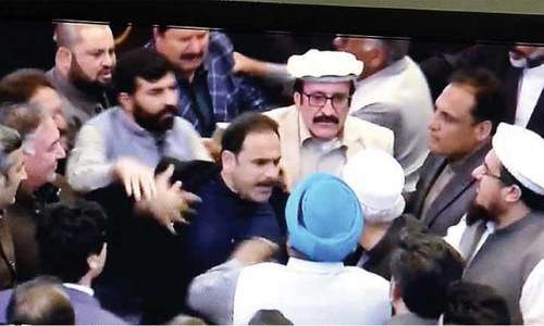 Pandemonium in KP Assembly as treasury, opposition members trade punches