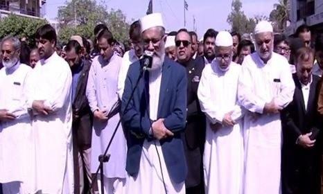 نعمت اللہ خان کی نماز جنازہ ادا، گورنر و وزیر اعلیٰ سندھ کی شرکت