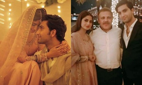 Sajal Aly wore her engagement outfit again for her nikkah dinner