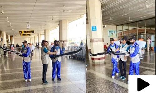 کورونا وائرس سے بچاؤ کیلئے ملک بھر کے ایئرپورٹ پر صفائی کا عمل شروع
