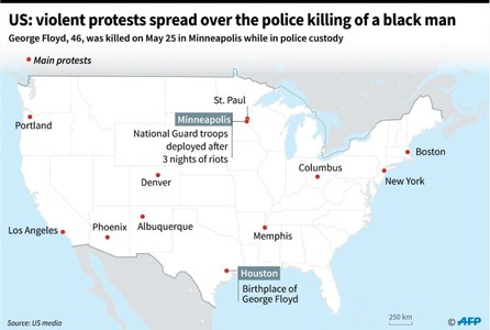 Troops deployed as anti-racism protests spread in US