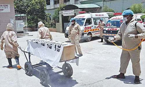 Two persons buried with corona SOPs tested negative