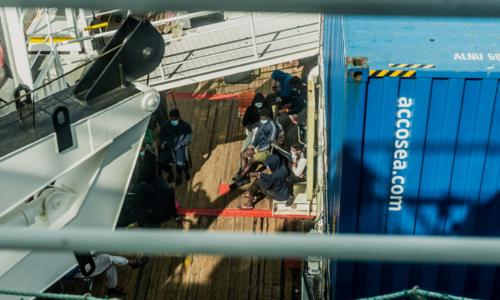 Migrants aboard Ocean Viking await transfer off Sicily