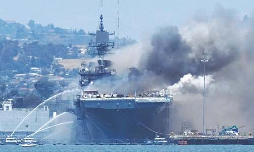 57 injured in fire aboard ship at US naval base