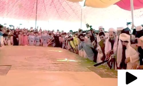 یوم آزادی، نور الحق قادری نے 3 ہزار پونڈ وزنی پاکستان کا سب بڑا کیک کاٹا