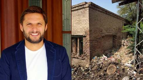 Shahid Afridi vows to restore KP public library that's turned into a garbage dump