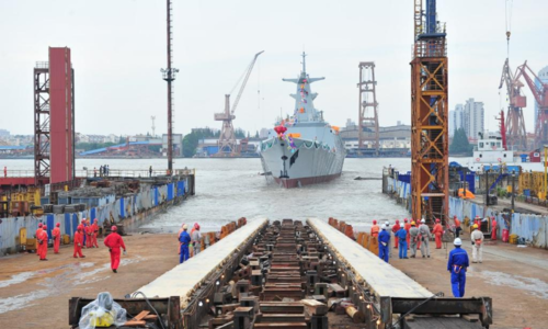 Pakistan Navy frigate launching ceremony held in China