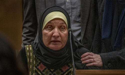 Maysoon Salama, mother of Ata Elayyan who was killed in the shooting, gives a victim impact statement about the loss of her son during the sentencing of Brent Tarrant. — Reuters